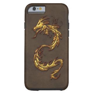 Dragón y imitación de cuero tribales asiáticos del funda de iPhone 6 tough