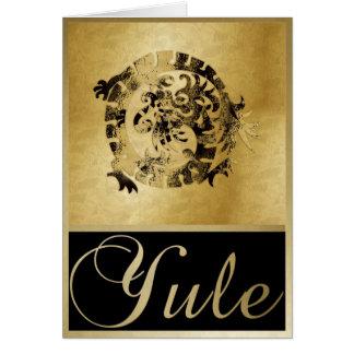 Dragón y marcos - tarjeta del oro de felicitación