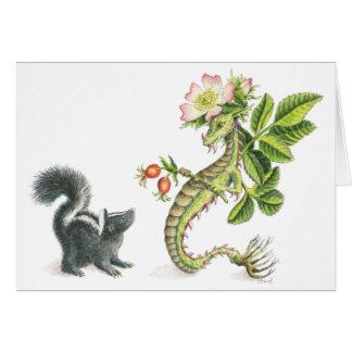 Dragón y mofeta color de rosa salvajes - tarjeta