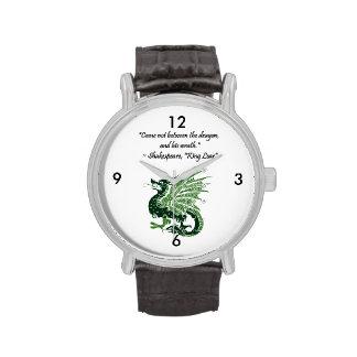 Dragón y su rey Lear Cartoon de Shakespeare de la Relojes De Pulsera