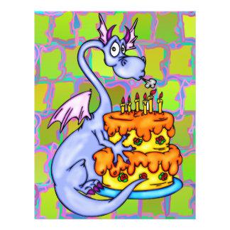 Dragón y torta de cumpleaños folleto 21,6 x 28 cm