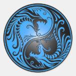Dragones, azul y negro de Yin Yang Pegatinas Redondas