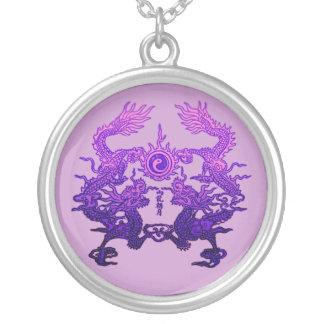 Dragones CHINOS de la púrpura del AÑO NUEVO Pendientes