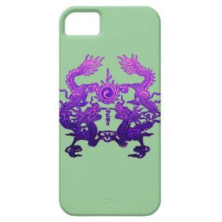 Dragones CHINOS de la púrpura del AÑO NUEVO iPhone 5 Case-Mate Cobertura