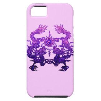 Dragones CHINOS de la púrpura del AÑO NUEVO iPhone 5 Case-Mate Cárcasa