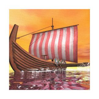 Drakkar o nave de vikingo - 3D rinden Lienzo