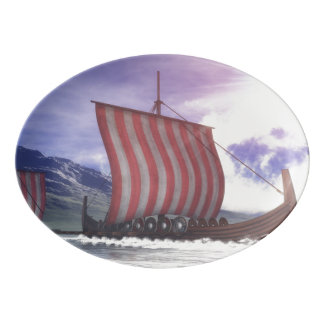 Drakkars - 3D rinden Fuente De Porcelana