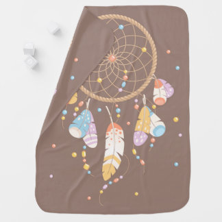 Dreamcatcher tribal Boho Brown de doble cara Mantita Para Bebé