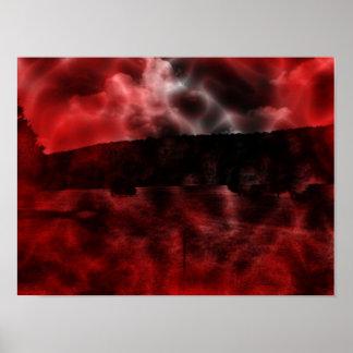 Dreamscape oscuro rojo y negro del paisaje póster
