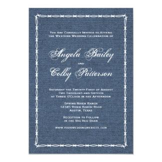 Dril de algodón del país y alambre azules de Barb Invitación 12,7 X 17,8 Cm