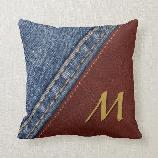 Dril de algodón y cuero del monograma cojín decorativo