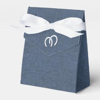 Dril de algodón y herraduras azules del país caja de regalos