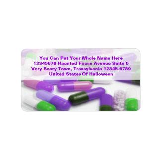 Drogas médicas de las píldoras verdes rosadas etiqueta de dirección