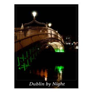 Dublín por noche postal