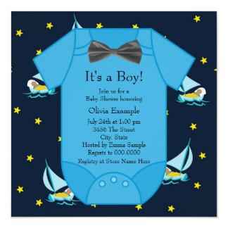 Ducha amarilla azul del bebé del velero invitación 13,3 cm x 13,3cm