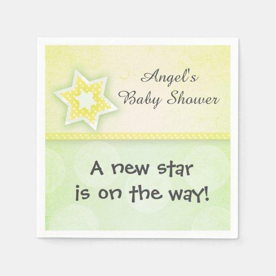 Ducha amarilla del bebé o del chica de la estrella servilletas de papel