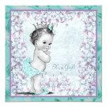 Ducha azul de la niña de la lavanda y del trullo invitación personalizada