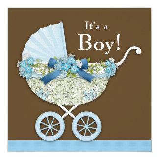 Ducha azul del bebé de Brown del carro de bebé Invitación 13,3 Cm X 13,3cm