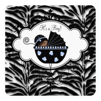 Ducha azul del bebé de la cebra invitación 13,3 cm x 13,3cm