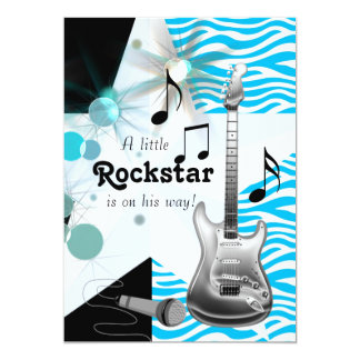 Ducha azul del bebé de la estrella del rock de la invitación 12,7 x 17,8 cm