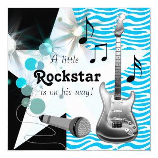 Ducha azul del bebé de la estrella del rock de la invitación 13,3 cm x 13,3cm