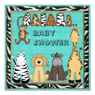 Ducha azul del bebé de los animales lindos del anuncios personalizados