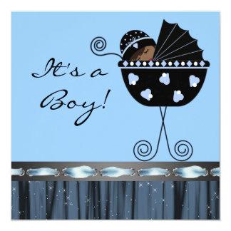 Ducha azul del bebé del negro azul negro del carro invitación 13,3 cm x 13,3cm