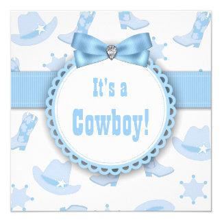 Ducha azul del bebé del vaquero invitación 13,3 cm x 13,3cm