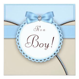 Ducha azul elegante del bebé de Brown Invitación 13,3 Cm X 13,3cm
