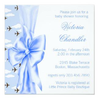 Ducha azul elegante del bebé del aeroplano invitación 13,3 cm x 13,3cm
