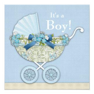 Ducha beige del muchacho del carro de bebé de invitación 13,3 cm x 13,3cm