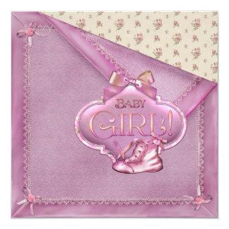 Ducha combinada rosada de la niña de los botines invitación 13,3 cm x 13,3cm