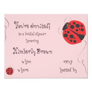 Ducha de la mariquita o invitación nupcial de la invitación 10,8 x 13,9 cm