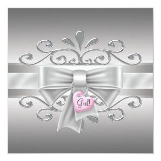 Ducha de la niña de la plata del rosa del encanto invitación 13,3 cm x 13,3cm