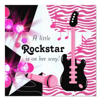 Ducha de la niña de Rockstar de la cebra de las Invitación 13,3 Cm X 13,3cm
