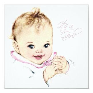 Ducha de la niña del vintage de los rosas bebés invitación 13,3 cm x 13,3cm