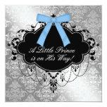 Ducha de plata del príncipe bebé del negro azul comunicados personalizados