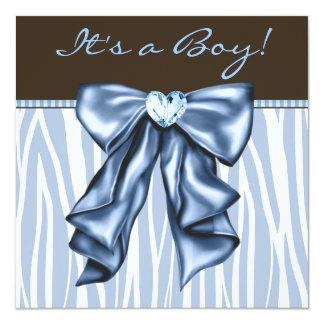 Ducha del bebé de Brown de la cebra de los azules Invitación 13,3 Cm X 13,3cm