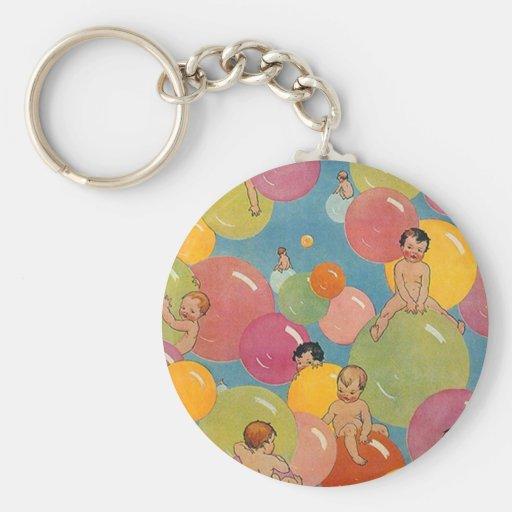 Ducha del estilo del vintage de bebés en burbujas  llavero personalizado