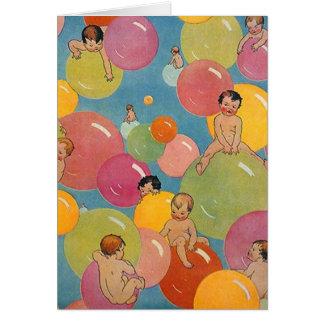 Ducha del estilo del vintage de bebés en burbujas tarjeta de felicitación