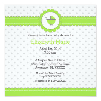 Ducha del Punto-Bebé de la polca de la verde lima Invitación 13,3 Cm X 13,3cm