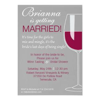 Ducha del vino invitación 12,7 x 17,8 cm