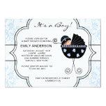 Ducha elegante del bebé del negro azul del damasco invitaciones personalizada