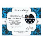 Ducha elegante del bebé del negro azul del damasco anuncio personalizado