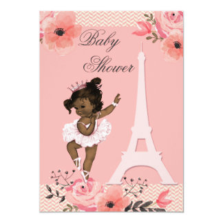 Ducha étnica de la bailarina de la torre Eiffel Invitación 12,7 X 17,8 Cm
