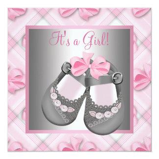 Ducha gris de la niña de bebé del rosa gris rosado invitación 13,3 cm x 13,3cm