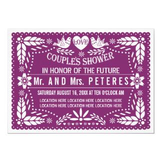 Ducha mexicana púrpura de los pares del boda del invitación 12,7 x 17,8 cm