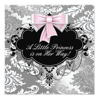 Ducha negra rosada de plata de la princesa niña invitación 13,3 cm x 13,3cm