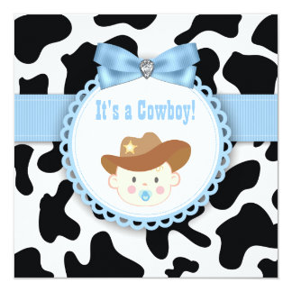 Ducha negra y azul del bebé del vaquero invitación 13,3 cm x 13,3cm