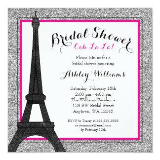 Ducha nupcial atractiva de París de las rosas Invitación 13,3 Cm X 13,3cm